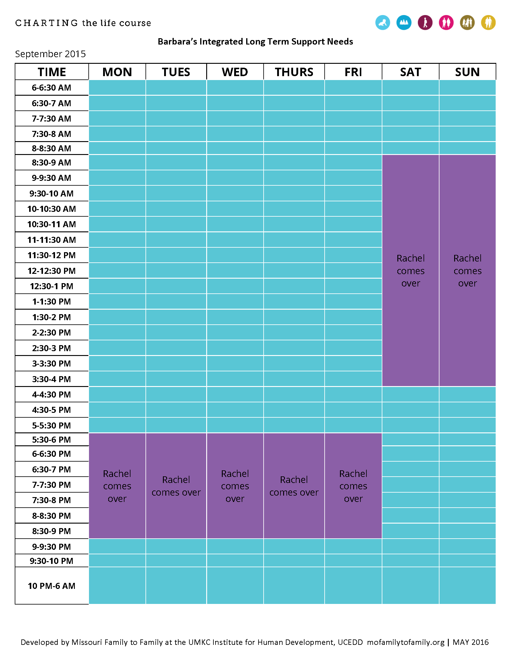 Graphic: Screenshot of Barbara's Integrated Long Term Support Needs Schedule before Charting the LIfeCourse
