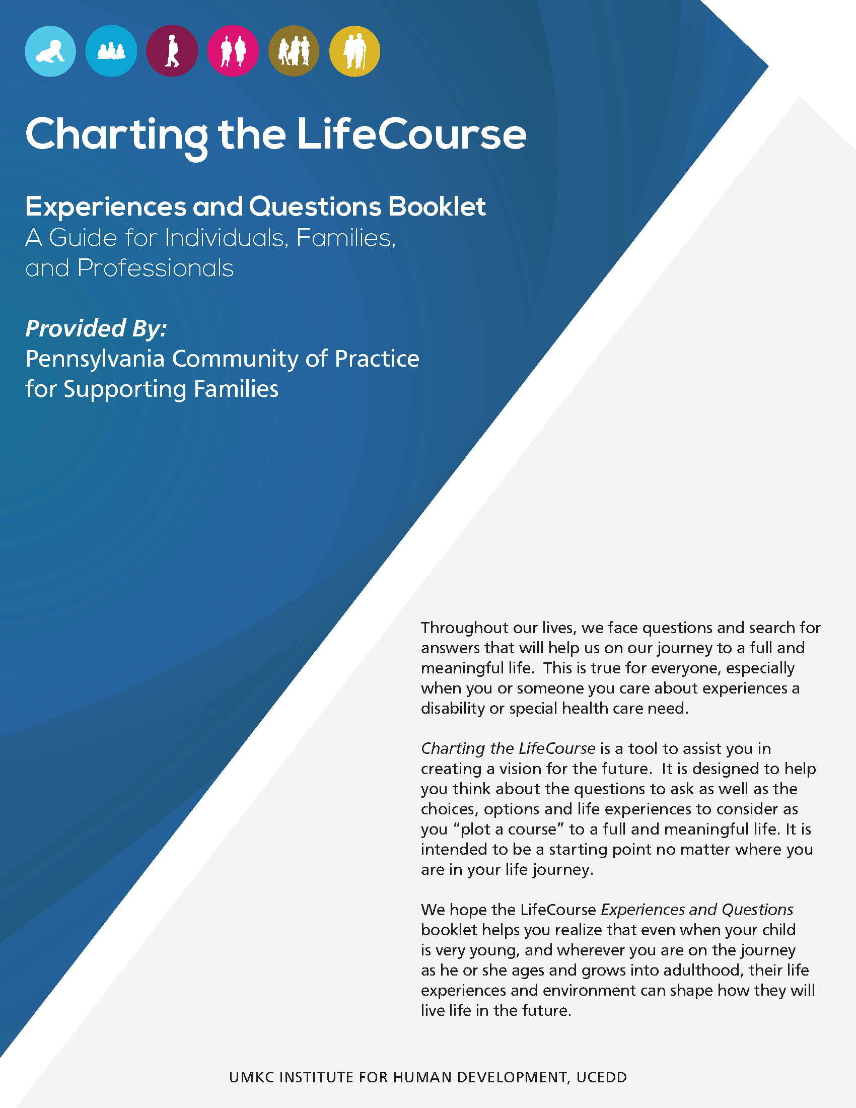 Graphic: Screenshot of Charting the LifeCourse: Experiences & Questions Booklet customized by Pennsylvania team