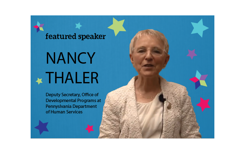 Graphic: featured speaker: Nancy Thaler PA ODP