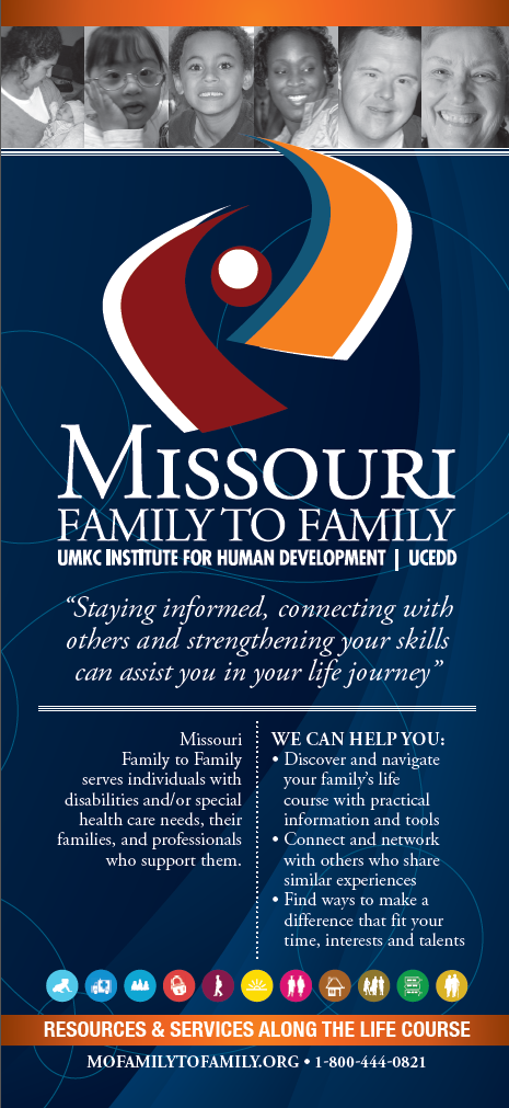 Graphic: Screenshot of Rack Card (outreach materials) developed by Missouri Famiyl to Family using LifeCourse life stage and life domain icons