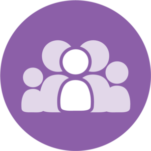 Graphic: Charting the LifeCourse Family icon (a purple circle with a group of 5 people in the center, the person in the middle is brightly colored, the others are faded out)