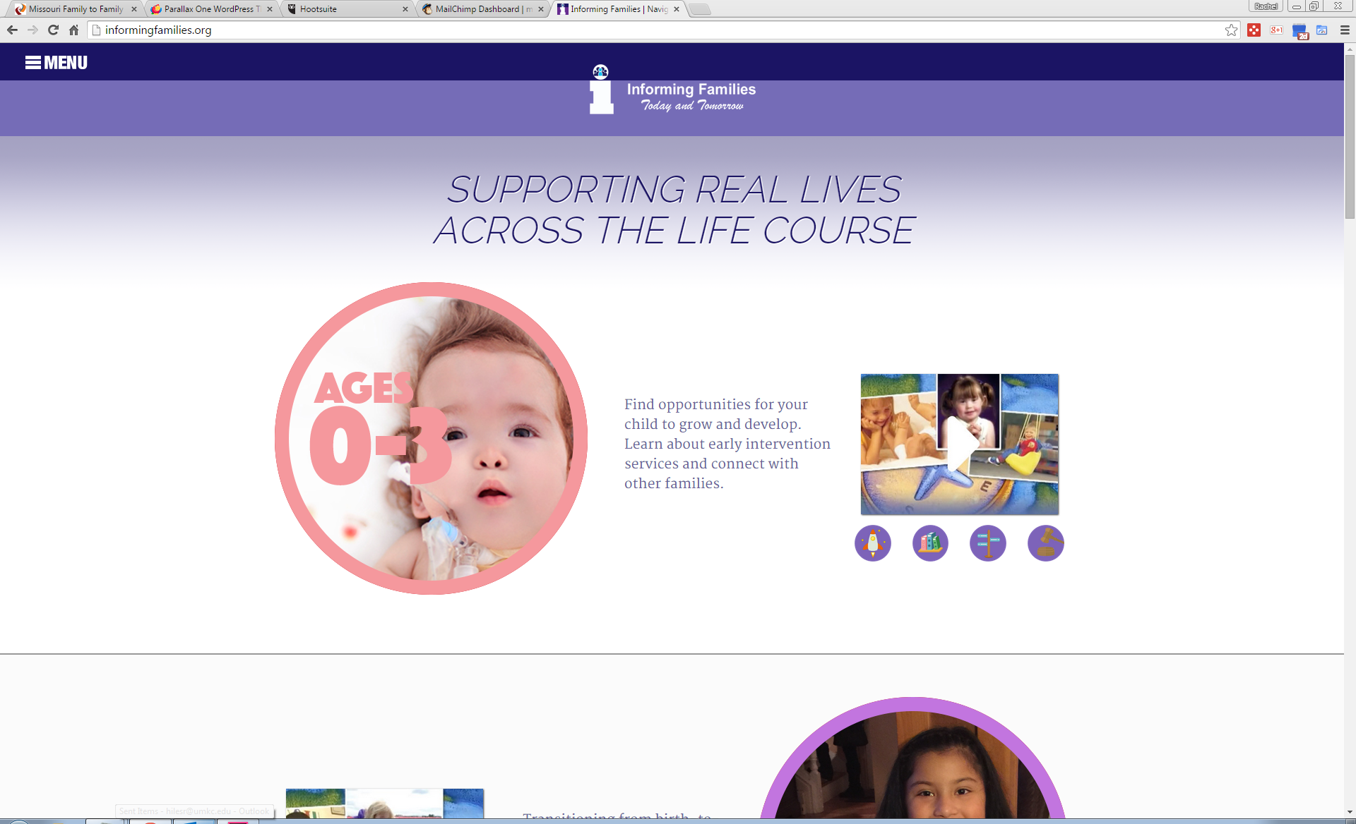 Graphic: Screenshot of informingfamilies.org, which uses the life stages from the LifeCourse framework