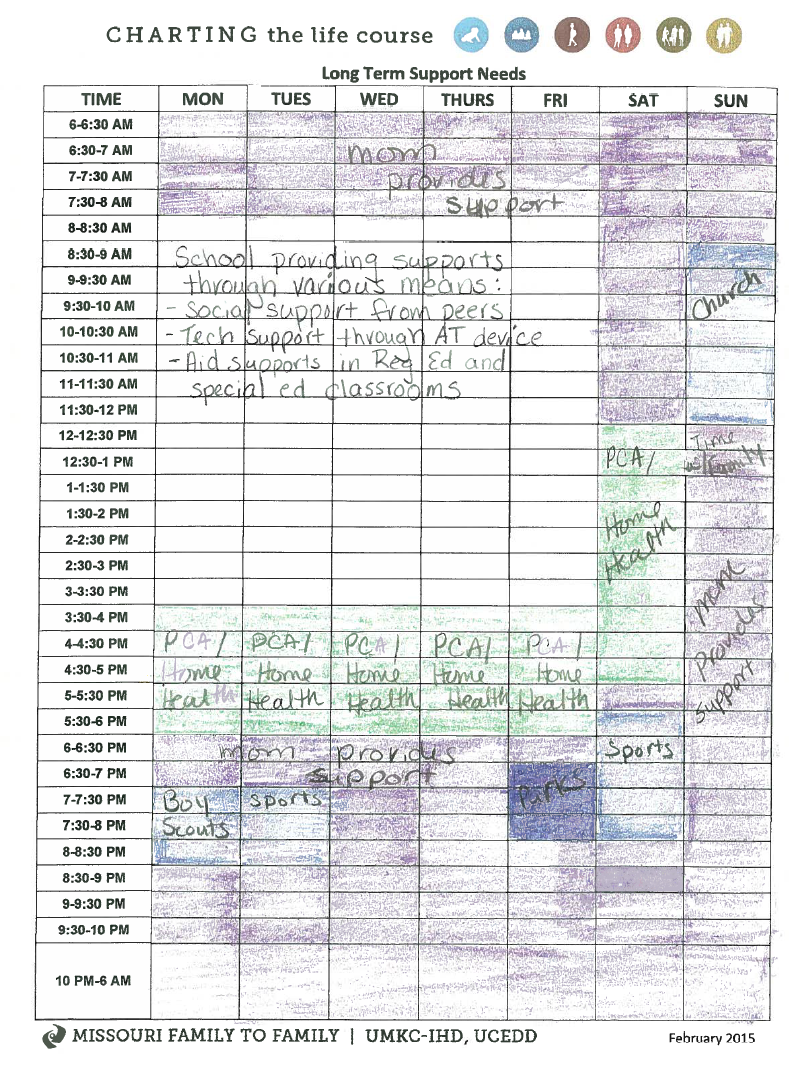 Photo: Peyton's Integrated Supports Schedule filled out by his mom