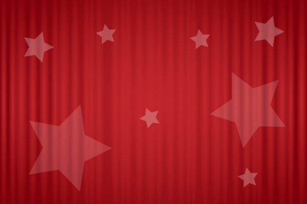 Graphic: red curtain, closed, with stars scattered across