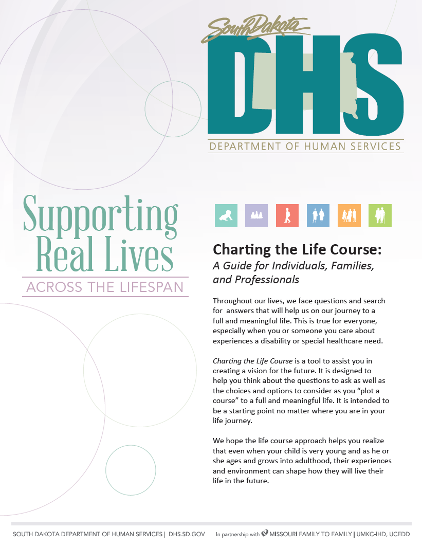 Graphic: Screenshot of cover of SD Charting the LifeCourse: Experiences & Questions Booklet customized by South Dakota DHSS